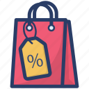 cut price, discount, sales discount, shopping bag, shopping discount icon