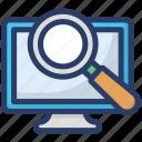 analyzing, computer analysis, monitoring, searching, tracking icon