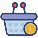 billing, check out, ecommerce, shopping, shopping bucket icon