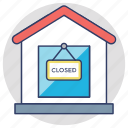 closed shop, closed sign board, commercial signage, shop sign icon