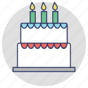 bakery food, bakery item, birthday cake, cake, party cake icon
