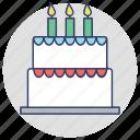 bakery food, bakery item, birthday cake, cake, party cake icon