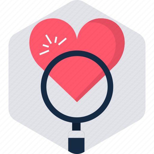 favorite, find, heart, like, magnifier, search, zoom icon
