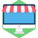 computer, desktop, screen, shop, shopping, technology, web icon