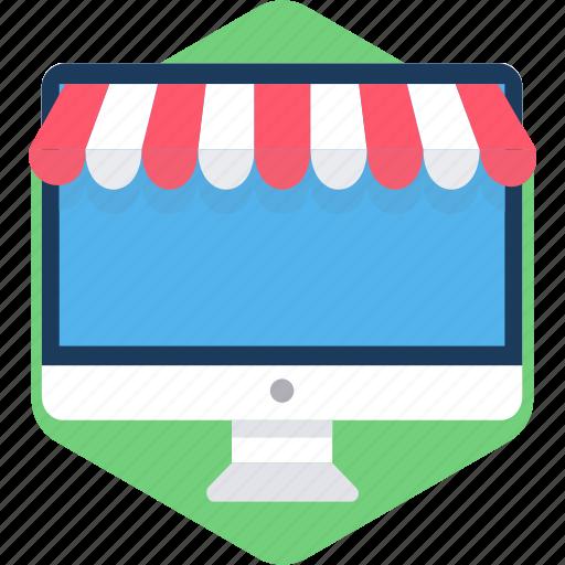 computer, desktop, screen, shop, shopping, technology, web icon