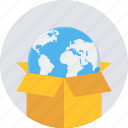 abroad, box, courier, international, package, parcel, product icon
