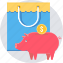 bank, cash, ecommerce, piggy, sale, savings, shopping icon