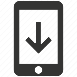 application, arrow, cell phone, cellular, down, download, inbox, mobile, mobile download, phone, smartphone, update icon