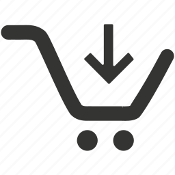 cart, cart download, carts, down arrow, download, online cart, online purchase, online store, shopping cart icon