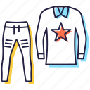 casual wear, clothes, jersey, sports uniform, trousers shirt icon