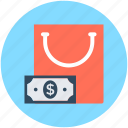 bag, banknote, shopping, shopping bag, tote bag icon