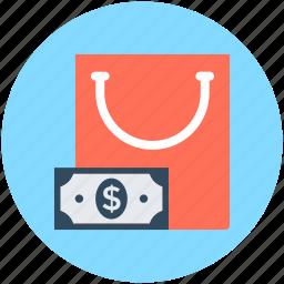 bag, banknote, shopping, shopping bag, tote bag icon