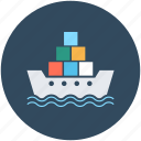 boat, cargo ship, container ship, cruiser, merchant ship icon