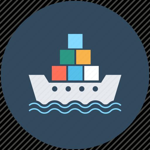 boat, cargo ship, container ship, cruiser, merchant ship icon