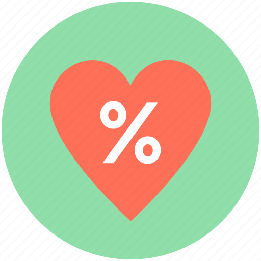 discount label, discount offer, discount tag, heart, percentage icon