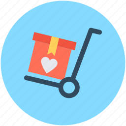 cart, gift, package, push cart, trolley icon