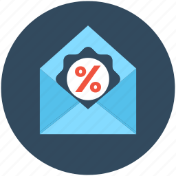 discount label, discount offer, discount tag, envelope, percentage icon