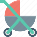 baby carriage, baby cart, pram, pushchair, stroller icon