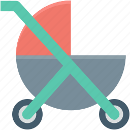 baby carriage, baby cart, pram, pushchair, stroller icon