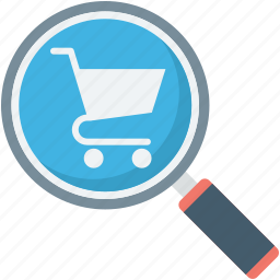 find shop, magnifier, online shopping, shopping analysis, shopping trolley icon