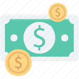 banknote, cash, coins, dollar coins, paper money icon