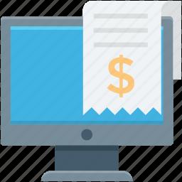 bill, monitor, online invoice, online receipt, shopping receipt icon