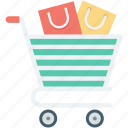 ecommerce, online shopping, shopping bags, shopping cart, shopping trolley icon