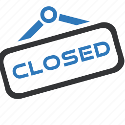 closed, shop, shopping, sign, store icon