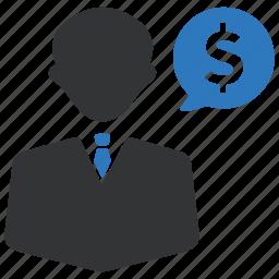 businessman, dollar, earnings, finance, income, money, salary icon