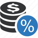 coin, dollar, money, payment, percentage icon