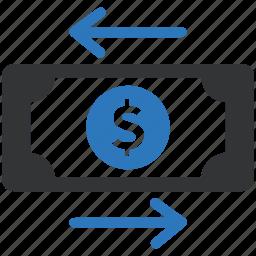 finance, money transaction, money transfer icon