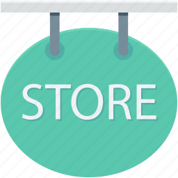 hanging sign, signboard, store, store signboard, swing sign icon
