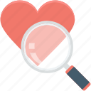 favorite, heart search, magnifier, search love, valentine icon