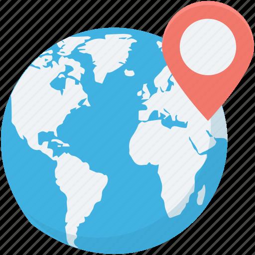 global location, globe, gps, location, map pin icon