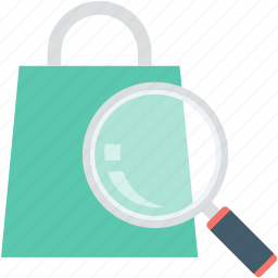 e commerce, magnifier, online shopping, search bag, shopping bag icon