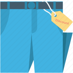 discount tag, pants, price tag, sweatpants, trousers icon