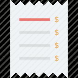 bill, cheque, fees, payment, receipt, voucher icon
