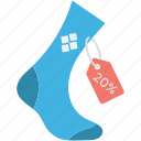 20%, discount offer, sale offer, socks, socks for sale icon