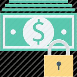 banknotes, lock, locker, money security, safe banking icon