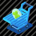 cart, cross, d444, green, isometric, shopping