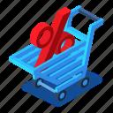cart, d444, isometric, percent, shopping, sign
