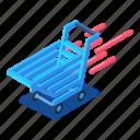 cart, d444, isometric, motion, shopping, vector