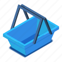 basket, blue, d444, empty, isometric, shopping