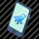 cart, d444, isometric, phone, screen, shopping