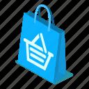 bag, blue, d444, isometric, shopping, vector