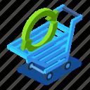 arrow, cart, d444, green, isometric, shopping
