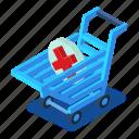 cart, d444, isometric, medicine, shopping, sign