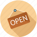 open, shop open, we are open icon
