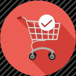 cart, check, shopping, shopping cart icon