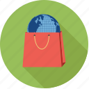 online shopping, shopping bag, world shopping icon